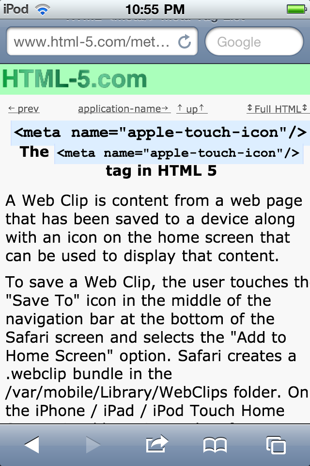 iPhone Web Clip