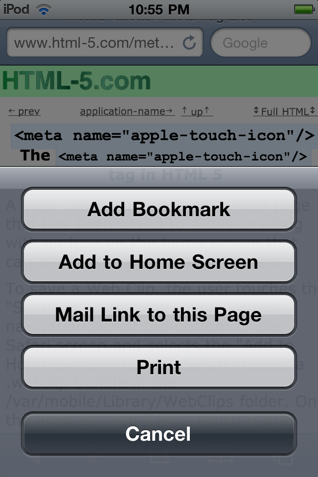 iPhone Web Clip Save To menu